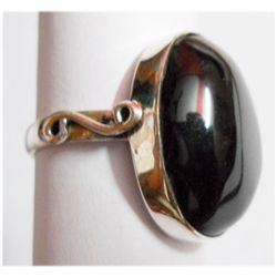 Natural 6.77g Black Onex Oval .925 Sterling Silver Ring
