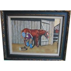 Gosch oil of a farrier, framed
