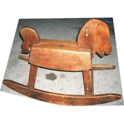 Cute kids wooden rocking horse