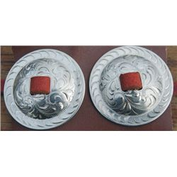 2 inch silver slotted conchos