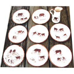 collectible cowboy dinnerware, Herefords