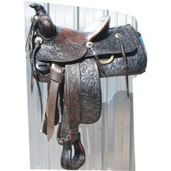 Mueller full tooled saddle with silver conchos