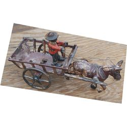 nice cast iron ox cart toy