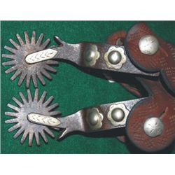 Crockett overlaid spurs, 2 concho pattern