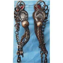 set of 2 silver inlaid Mexican horse head bits