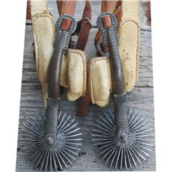silver inlaid S. American spurs with leathers