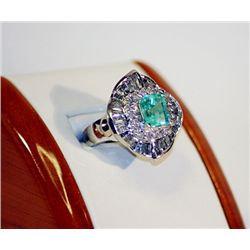 Lady's 14K White Gold Emerald/Diamond Ring