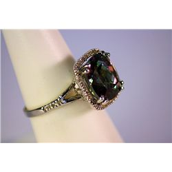 Lady's Beautiful Plt Mystic Topaz With Diamonds Ring