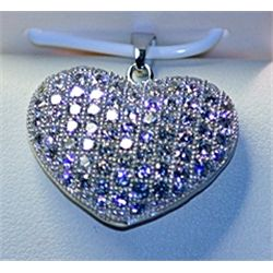 Lady's Very Fancy Sterling Silver  Heart  White Sapphire Pendant