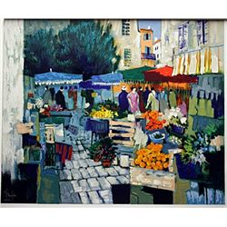 Serigraph on Paper by Claude Fauchère -BLUE MARKET