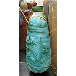 Galle Signed Tall Vase with Pale Blue and Green Ship at Sea Decoration