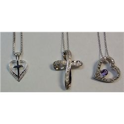 Lot Sterling Silver Necklaces