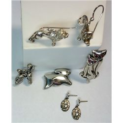 Lot of Sterling Silver Animal Jewelry