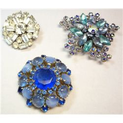 Lot of Vintage Unsigned Rhinestone Brooches