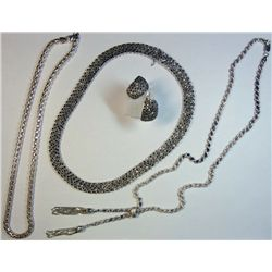 Lot of Vintage Sterling Chains and Earrings