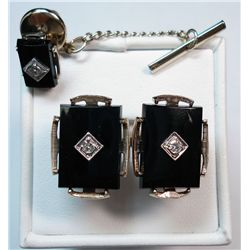 Vintage Gold & Diamond Cufflinks and Tie Clasp