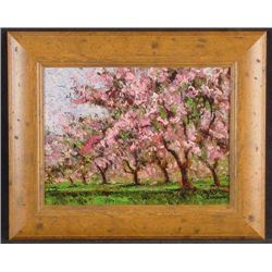 Rustic Frame CHERRY TREES IN BLOOM Sammoun Canvas Art