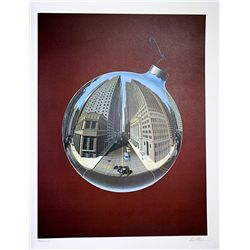 David Mann Signed and Numbered Lithograph - Fisheye View of Wall Street