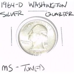 1964-D Washington SILVER Quarter *RARE MS-TONED GRADE - NICE COIN*!!