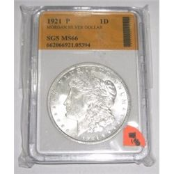 1921-P Morgan Silver Dollar *RARE MS-66 CERTIFIED BY SGS* Serial #662066921.05394!!