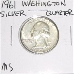 1961 Washington Silver Quarter *PLEASE LOOK AT PICTURE TO DETERMINE GRADE - NICE COIN*!!