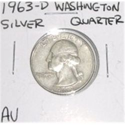 1963-D Washington Silver Quarter *RARE AU GRADE - NICE COIN*!!