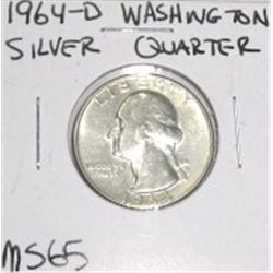 1964-D Washington Silver Quarter *RARE MS-65 HIGH GRADE - NICE COIN*!!