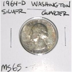 1964-D Washington Silver Quarter *RARE TONED MS-65 GRADE - NICE COIN*!!