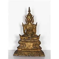 Thai Buddha, Painted Cast Metal Sculpture