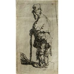 Rembrandt van Rijn, A Beggar Leaning on a Stick, Etching
