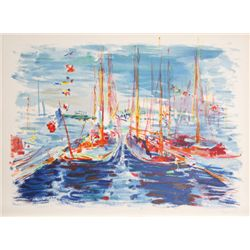 Dimitrie Berea, French Boats, Lithograph