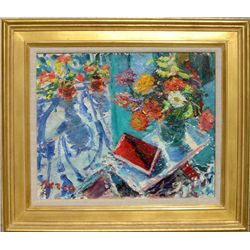 Dimitrie Berea, Flowers and a Red Book, Oil Painting