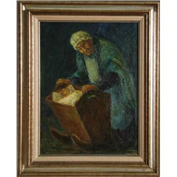 Chaim Goldberg, Woman with Child in Crib, Oil Painting