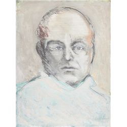John MacWhinnie, Portrait of Truman Capote, Mixed Media