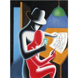 Mark Kostabi, To Tell the Truth, Oil Painting