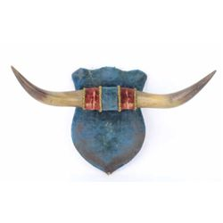 19th Century shield back horn hat rack with original velour and trim showing great old patina, 16 1/
