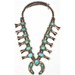 Vintage Navajo squash blossom necklace sterling silver and turquoise, unmarked showing good quality