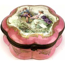 "Fine 19th C. porcelain dresser box bottom marked hand painted made in France, 9"" X 4 1/2"", flute pla"