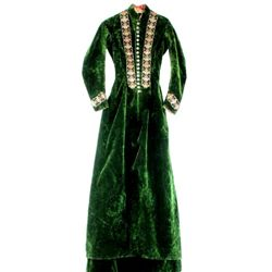 Fine 19th C. ladies velvet long jacket and skirt embroidering to bodice and sleeve, 18 finely enamel