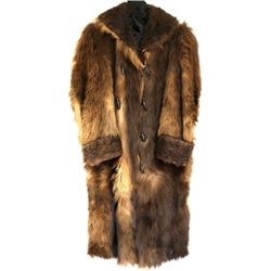 Early men's bearskin long coat cotton quilt lined with outside pockets, one interior pocket and turn