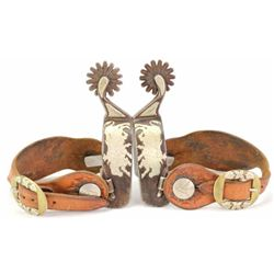 Pair of double mounted spurs by Kevin Burns and marked Burns 200 below buttons, includes Bob Marrs s