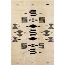 C. 1890's Mexican blanket or serape the center with black geometric patterns on white background, bo