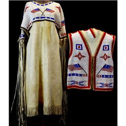 Matching beaded mans vest and women's dress on exceptionally soft buckskin, from the Morning Star fa