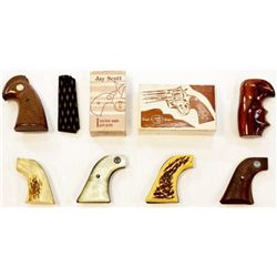 Collection of 7 grips, includes original Python, good genuine stags for single action, one pair faux