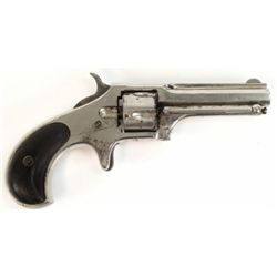 "Remington Smoot #1 .30 cal. SN 1827 spur trigger revolver with 2 3/4"" barrel, nickel finish with wal"