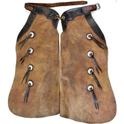 Good pair of Farra stamped batwing chaps from John Day Oregon, stamped on belt, good condition.