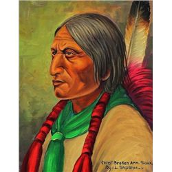 "Original painting ""Chief Broken Arm Sioux"" by Louis Shipshee 1896-1975 born in Kansas, self taught P"