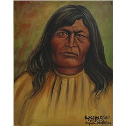 "Original painting ""Apache Chief Victoria"" by Louis Shipshee 1896-1975 born in Kansas, self taught Pr"