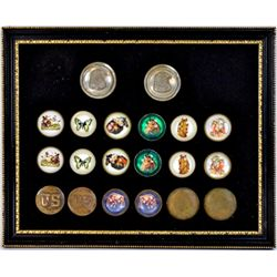 Collection of 10 pair bridle rosettes on display board mounted in frame.