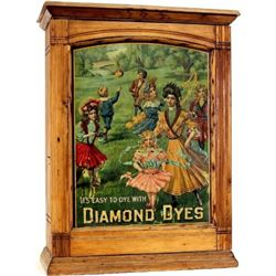 "C. 1906 Diamond Dyes ash dye cabinet with embossed ""Governess"" tin litho insert with original slidin"